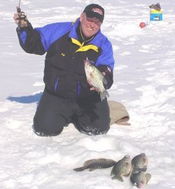 jeff sundin on ice with big crappies