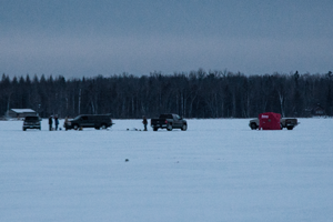 image of trucks on the ice