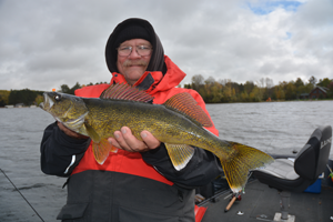 image of Marty Glackin with big walleye