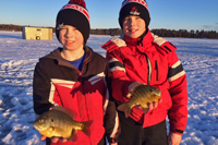 image of boys with big blugills on ice