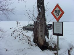 Anglers in the Deer River area are parking vehicles on ice in the shallows of Winnibigoshinsh