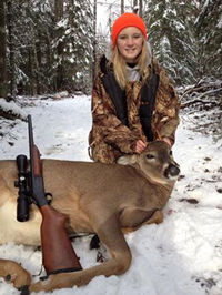 Opening Weekend Success...Celia Clusiau bagged this nice spike buck on Minnesota's deer season opening weekend.