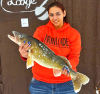 image of Mercedez Stangland holding Walleye
