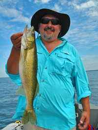 Frank Amore with Walleye caught on Lake Winnie