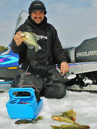 image f Blake liend with Crappies on ice
