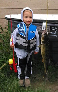 image of Walleye caught by young Graydon with a kids fishing pole