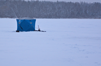 image ice fishing shelter on Jessie Lake