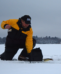image of Steve Kusske ice fishing Crappies