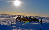 image pf snowmobiles on ice