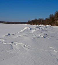 image of ice ridge on bowstring lake
