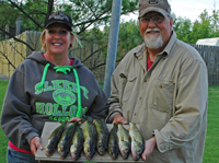 image of Kirk and Mari Petersen with nice Walleyes