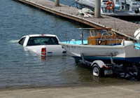 image of truck at boat ramp