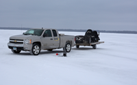 image of pickup truck on ice