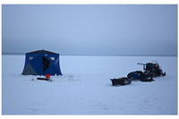image of snow conditions on Bowstring Lake