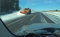image of snowplow on US Hwy 2 on April 4th