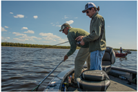image of Mark and Adam Huelse fishing on Red Lake