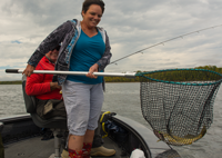 image of susan netting fish for dick