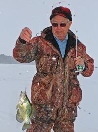 image of Crappie caught ice fishing on Bowstring Lake