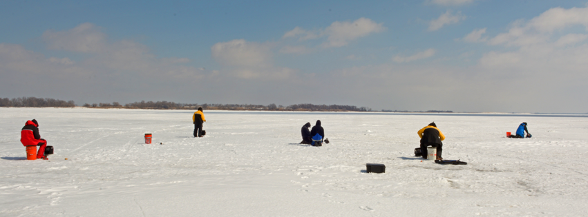 image of ice fishermen