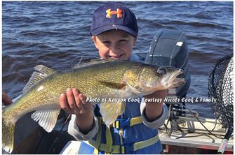 image of kayson cook with big walleye