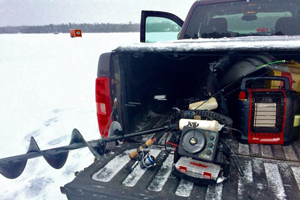 image of pickup truck and ice gear