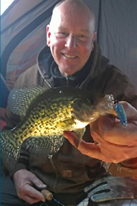 image of crappie caught on Lindy Glow spoon