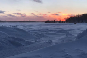image of snow drifts at boat landing