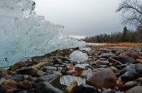 image of ice melting along shore