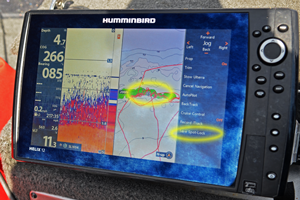 image of humminbird helix with spot-lock engaged