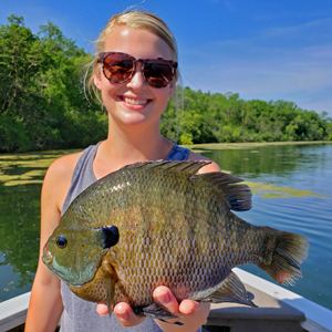image of woman with huge bluegill