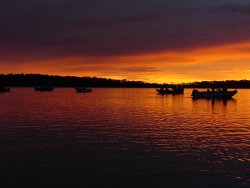 Sunset at Williams Narrows on Cutfoot Sioux offers a chance at evening run Walleye